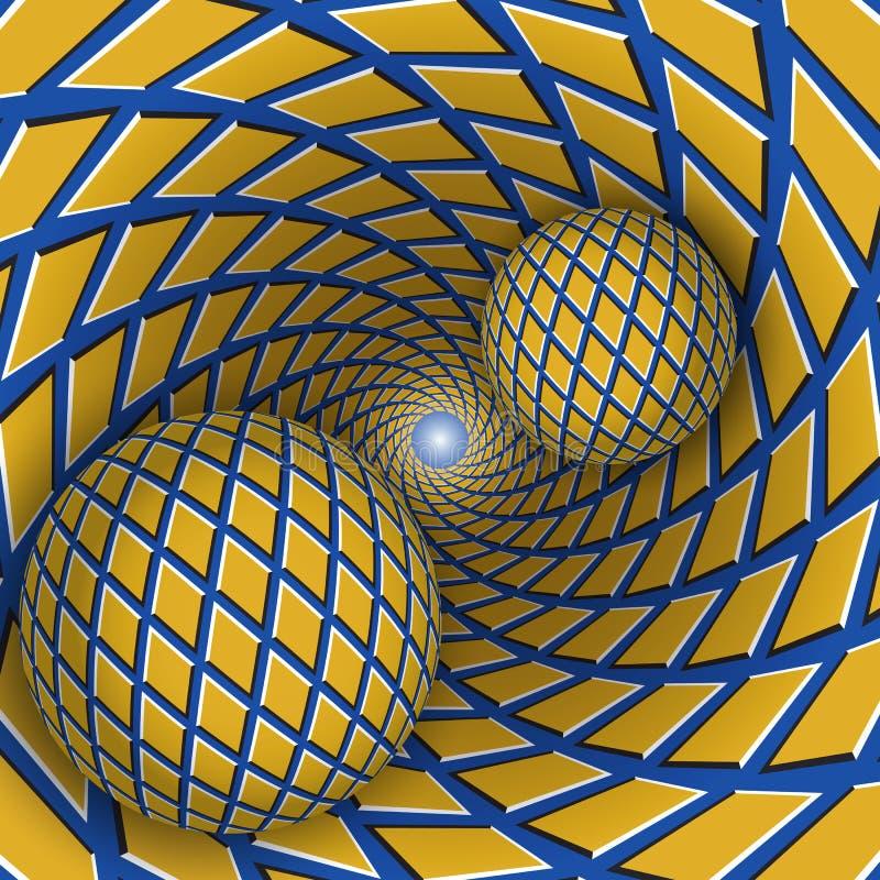 Ilustração visual da ilusão Duas bolas estão movendo o funil azul sobre de giro com rombos amarelos ilustração stock