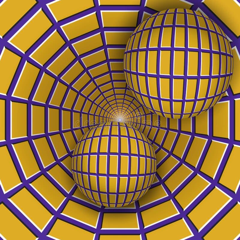 Ilustração visual da ilusão Duas bolas estão movendo o funil roxo sobre de giro com quadrilátero amarelos ilustração do vetor