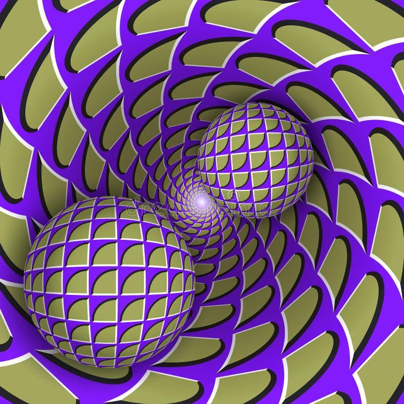 Ilustração visual da ilusão Duas bolas estão movendo o furo verde roxo azul sarapintado sobre de giro ilustração stock