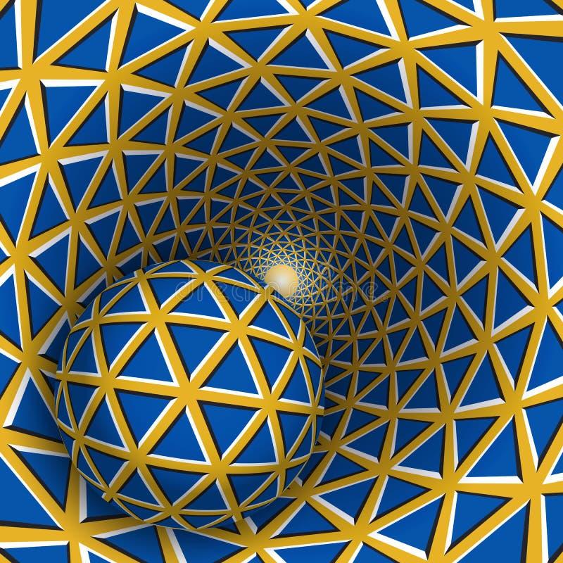 Ilustração visual da ilusão Uma bola está movendo o funil amarelo sobre de giro com triângulos azuis ilustração do vetor
