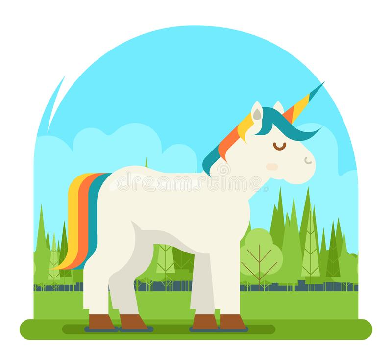 Ilustração visual lisa do vetor da experiência do projeto 3d Digitas do personagem de banda desenhada de Unicorn Fantasy Horse Wo ilustração stock