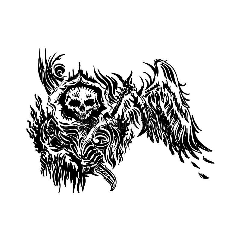 Ilustração voada tatuagem do vetor do crânio ilustração do vetor