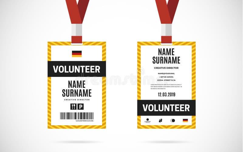Ilustração voluntária do projeto do vetor do grupo de cartão da identificação do evento ilustração do vetor
