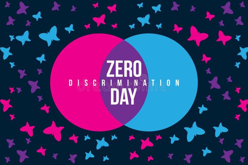 Ilustração zero do dia da discriminação com borboleta ilustração do vetor