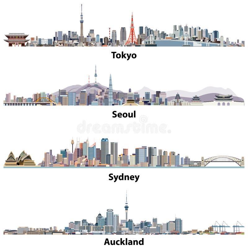 Ilustrações abstratas de skylines do Tóquio, do Seoul, do Sydney e do Auckland ilustração stock