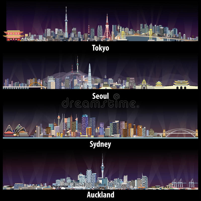 Ilustrações abstratas de skylines do Tóquio, do Seoul, do Sydney e do Auckland na noite ilustração stock