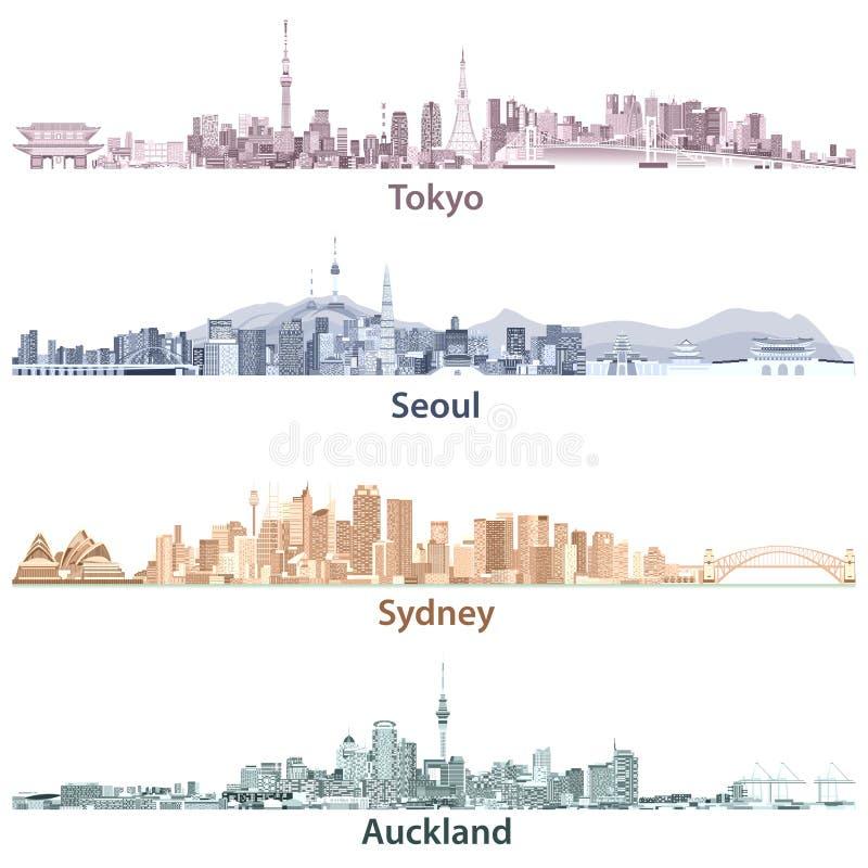 Ilustrações abstratas de skylines do Tóquio, do Seoul, do Sydney e do Auckland na noite em paletas coloridas diferentes ilustração do vetor