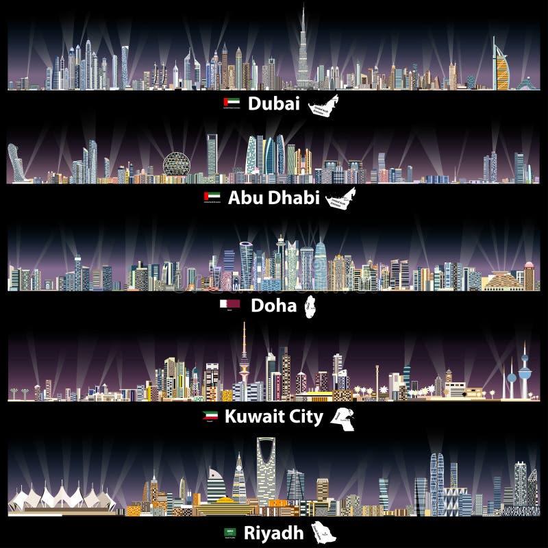 Ilustrações abstratas do vetor de skylines de Dubai, de Abu Dhabi, de Doha, de Riyadh e de Cidade do Kuwait na noite ilustração royalty free