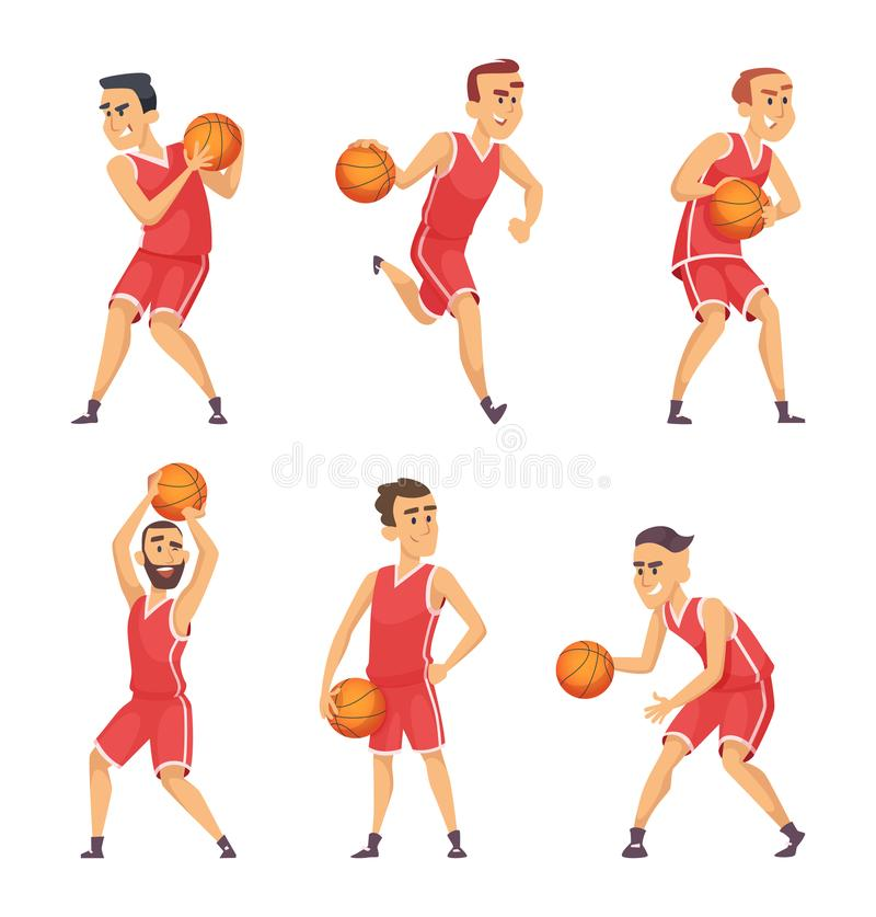 Ilustrações ajustadas de jogadores de basquetebol ilustração stock