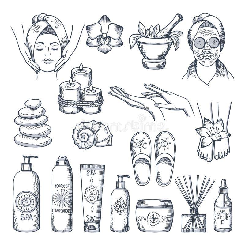Ilustrações ajustadas para o salão de beleza dos termas Velas, óleos e pedras, terapia da água ilustração royalty free