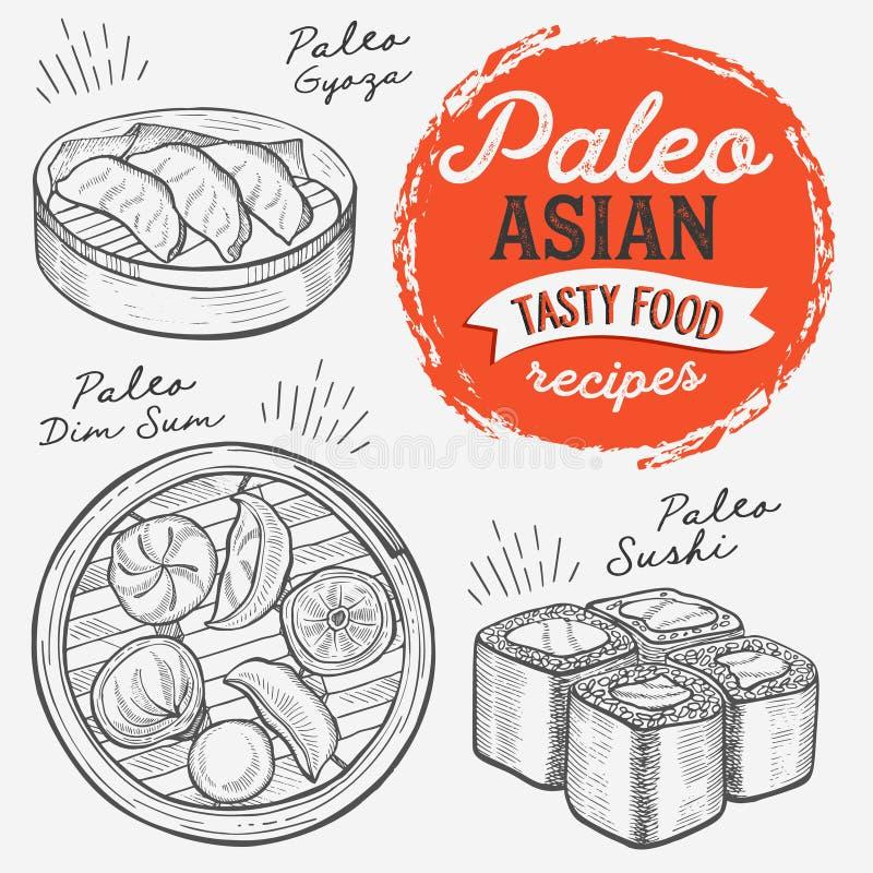 Ilustrações asiáticas - sushi, dim sum, macarronete, gyoza para a dieta do paleo ilustração royalty free