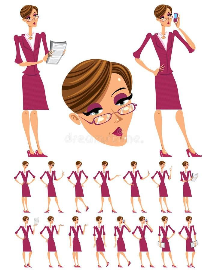 Ilustrações atrativas da mulher de negócio ajustadas. ilustração stock