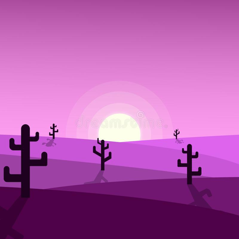 Ilustrações bonitas do por do sol do deserto ilustração royalty free