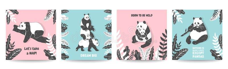 Ilustrações bonitos do urso de panda, coleção de cartazes simples do estilo, tampas, cartões do aniversário, cópia da parede ilustração stock