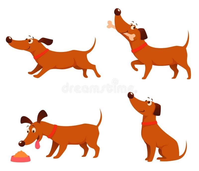 Ilustrações bonitos dos desenhos animados de um cão brincalhão feliz ilustração stock