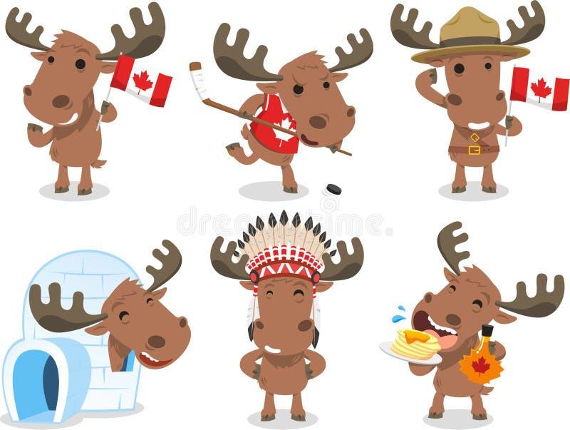 Ilustrações canadenses dos desenhos animados dos alces ilustração royalty free