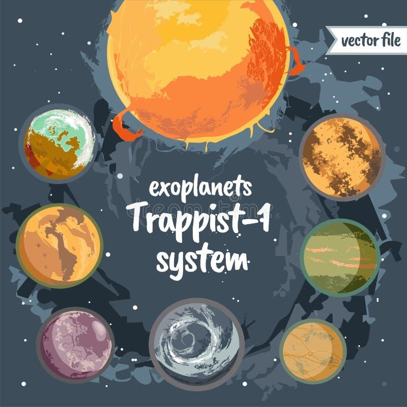 Ilustrações coloridas do vetor do sistema do trapista 1 dos planetas ilustração do vetor