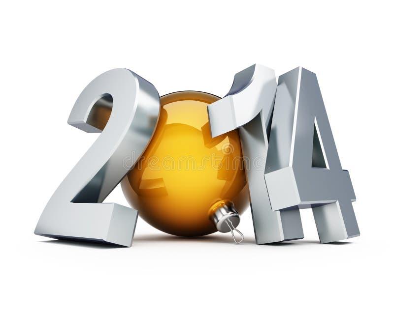 Ilustrações 3d do ano novo feliz 2014 ilustração royalty free