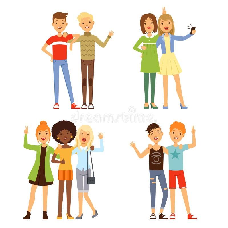 Ilustrações da amizade Amigos masculinos e fêmeas diferentes Grupos amigáveis ilustração stock