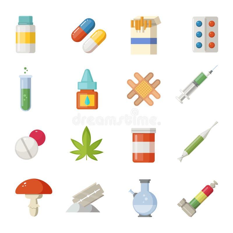 Ilustrações da farmácia Drogas diferentes no estilo dos desenhos animados ilustração do vetor