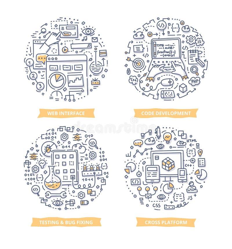 Ilustrações da garatuja do desenvolvimento do App ilustração royalty free