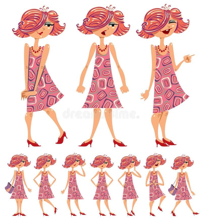Ilustrações da menina dos desenhos animados ajustadas. ilustração stock