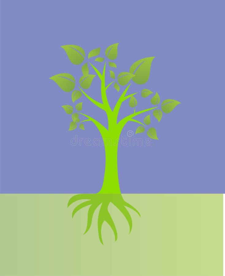 Ilustrações da natureza do verde do fundo do futuro do sol da planta da árvore ilustração royalty free