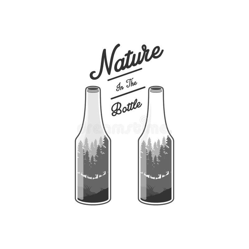 Ilustrações da natureza e da garrafa ilustração stock