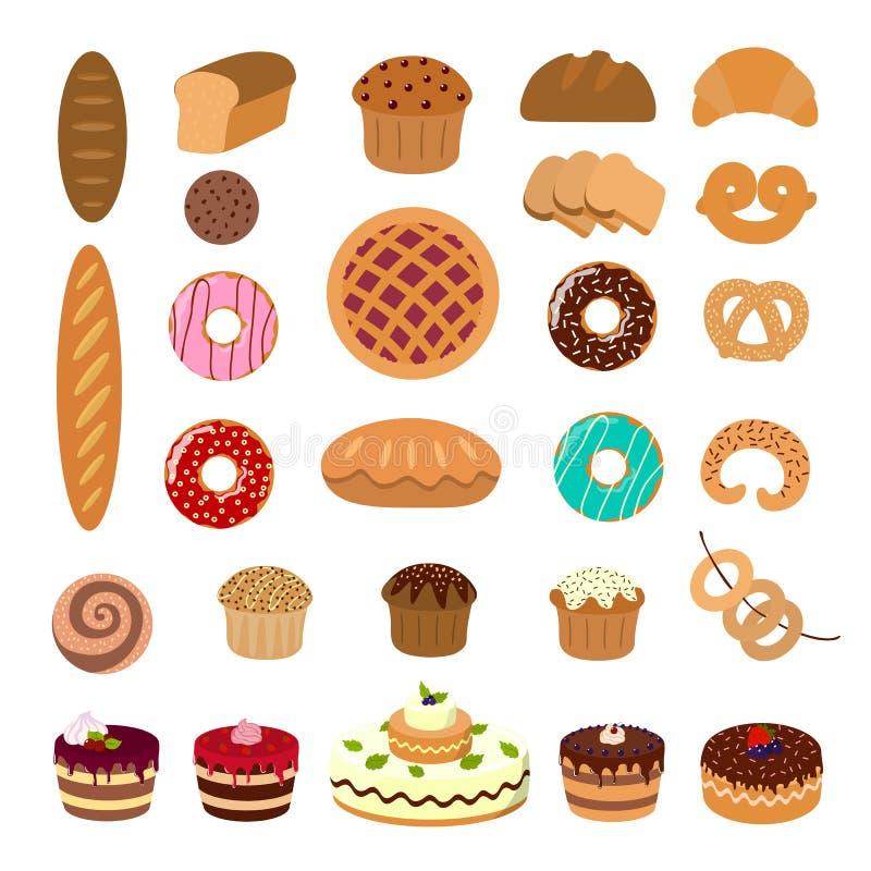 Ilustrações da pastelaria ajustadas ilustração stock