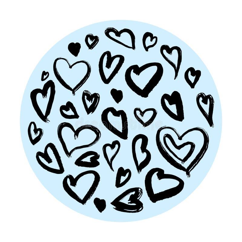 Ilustrações da tinta do coração, corações da estrutura do círculo, fundos dos corações com estilo glam da rocha ilustração royalty free