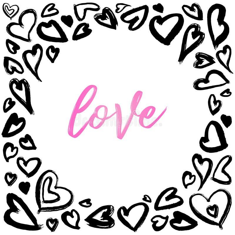 Ilustrações da tinta do coração, corações da estrutura do círculo, fundos dos corações com estilo glam da rocha ilustração stock