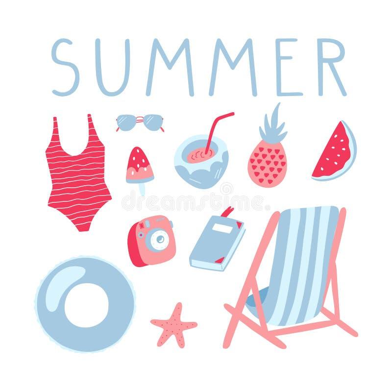 Ilustrações das férias de verão ajustadas Clipart da garatuja do vetor ilustração royalty free