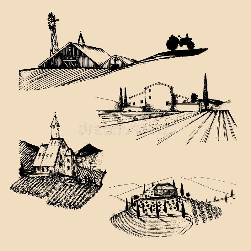 Ilustrações das paisagens da exploração agrícola do vetor ajustadas Esboços da casa de campo, vinhedo, abadia, herdade agrícola n ilustração royalty free