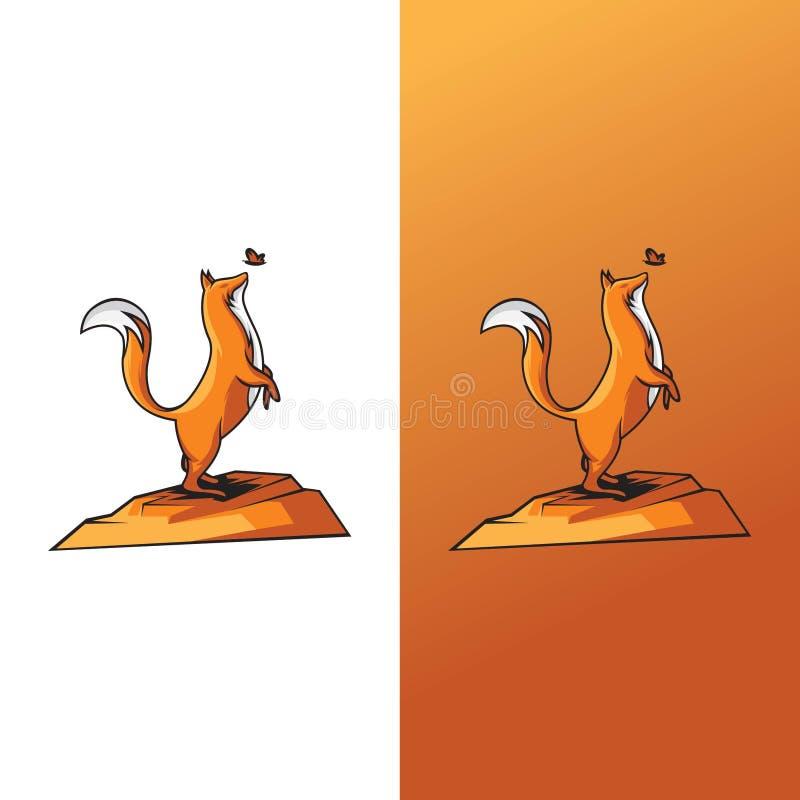 Ilustrações das raposas e das borboletas ilustração stock