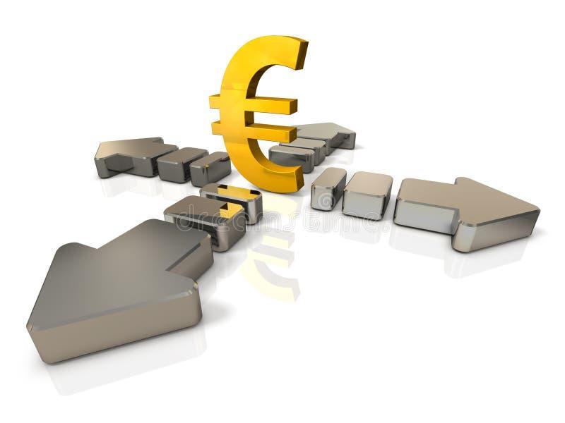 Ilustrações 3DCG abstratas que representam o movimento de econômico ilustração stock