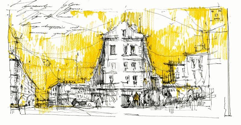 Ilustrações de aquarela desenhadas pela mão central da cidade antiga ilustração do vetor