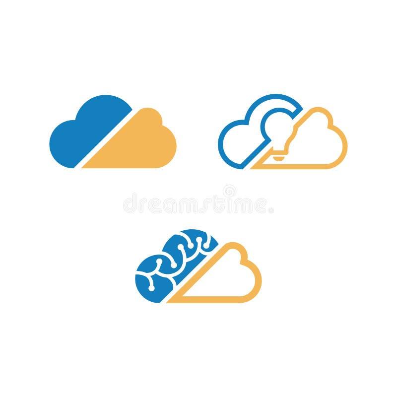 Ilustrações de computação do vetor do grupo do ícone da nuvem do vetor ilustração do vetor