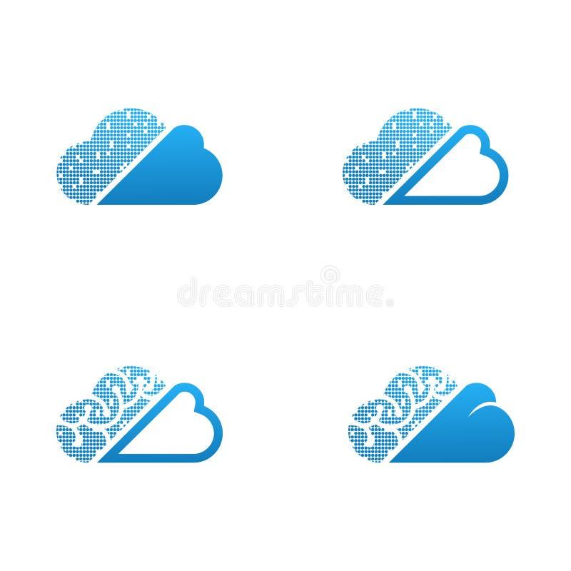 Ilustrações de computação do vetor do grupo do ícone da nuvem do vetor ilustração royalty free