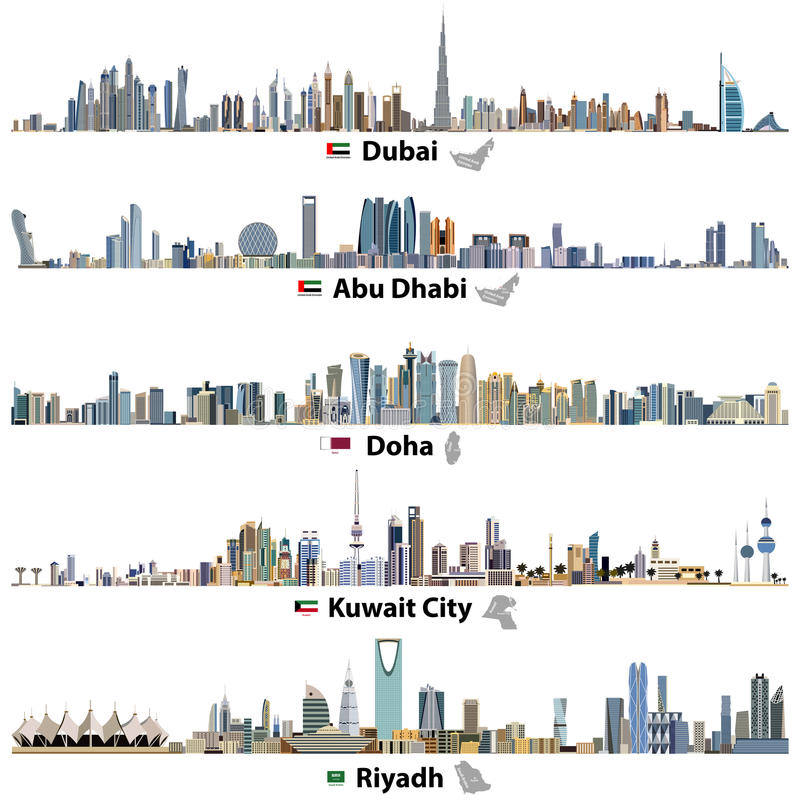 Ilustrações de skylines de Dubai, de Abu Dhabi, de Doha, de Riyadh e de Cidade do Kuwait com bandeiras e mapas ilustração do vetor