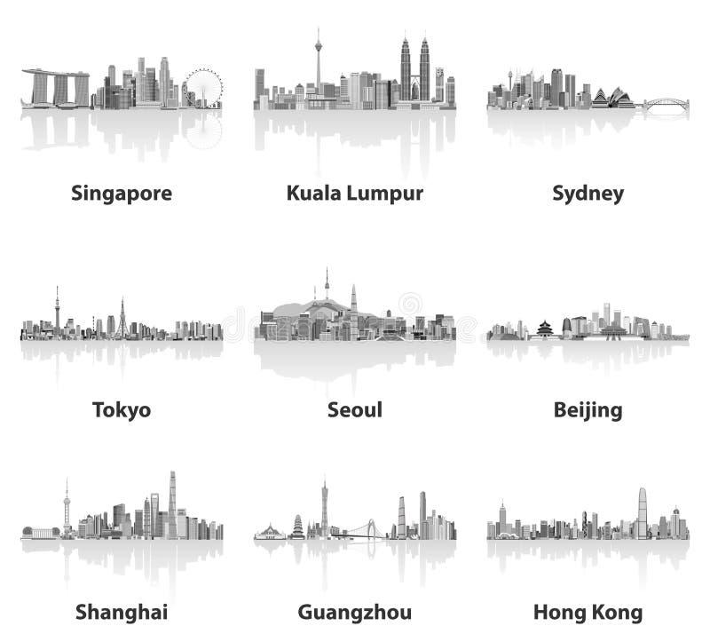 Ilustrações de skylines de Singapura, de Kuala Lumpur, de Sydney, de Tóquio, de Seoul, de Pequim, de Shanghai, de Guangzhou e de  ilustração stock