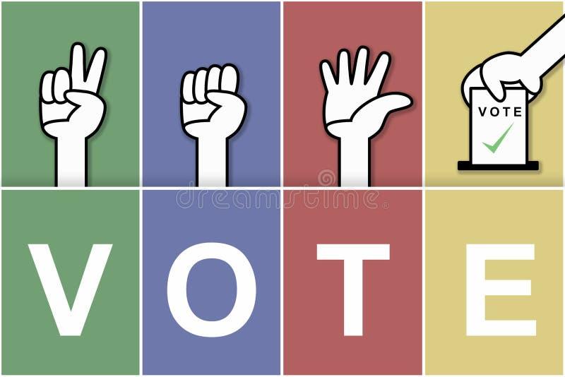 Ilustrações de votação com gráficos coloridos, guardando as mãos e a colocação de cartões ilustração royalty free
