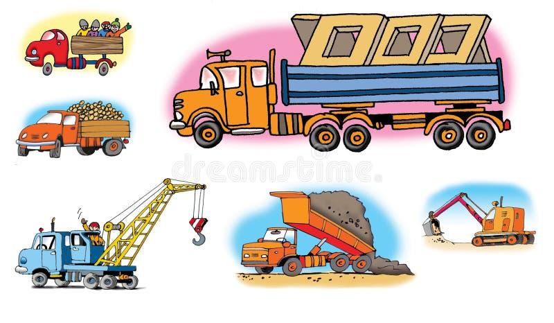 Ilustrações desenhadas mão sobre veículos diferentes ilustração stock