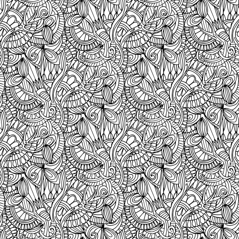 ilustrações desenhados à mão Abstração preto e branco Teste padrão sem emenda ilustração royalty free