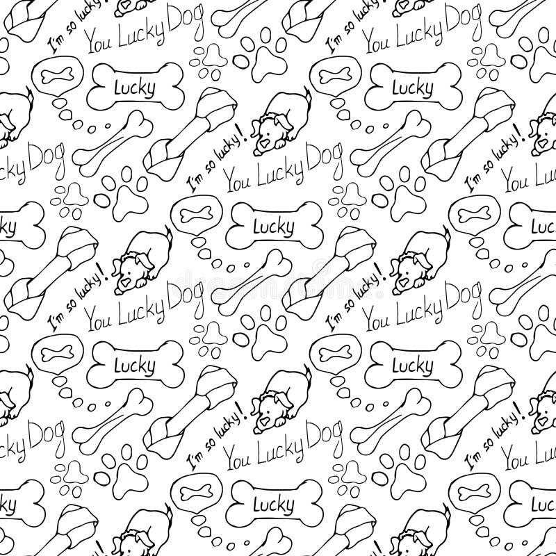 ilustrações desenhados à mão O sonho de um cão é um osso Teste padrão sem emenda ilustração royalty free