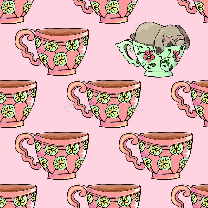 ilustrações desenhados à mão Xícaras de chá brilhantes Engraçado bonito do cartão caiu adormecido em um copo Teste padrão sem eme ilustração do vetor