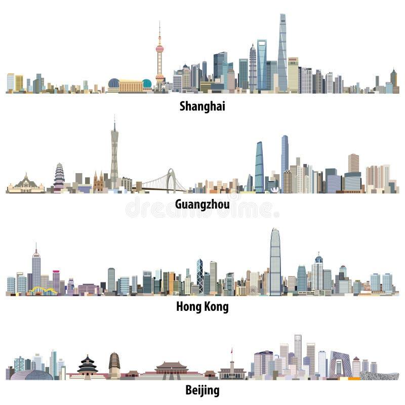 Ilustrações detalhadas altas do vetor abstrato de skylines de Shanghai, de Hong Kong, de Guangzhou e de Pequim