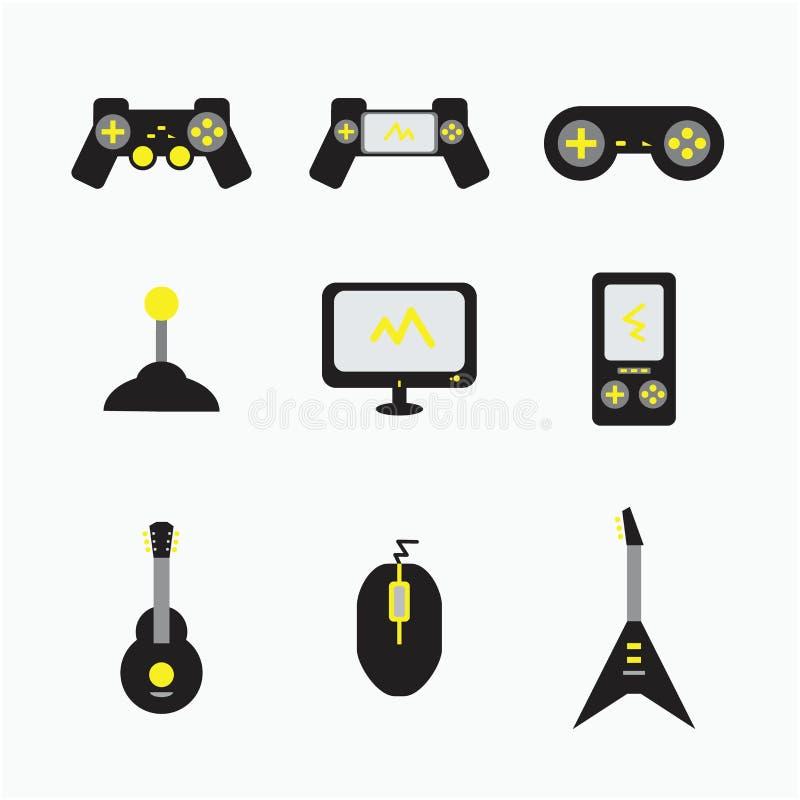 Ilustrações do ícone dos computadores da guitarra do console do jogo ilustração royalty free