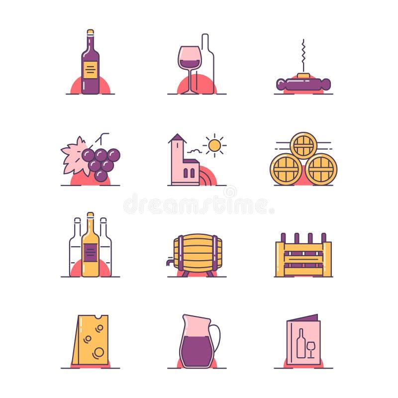 Ilustrações do assunto do vinho ilustração royalty free