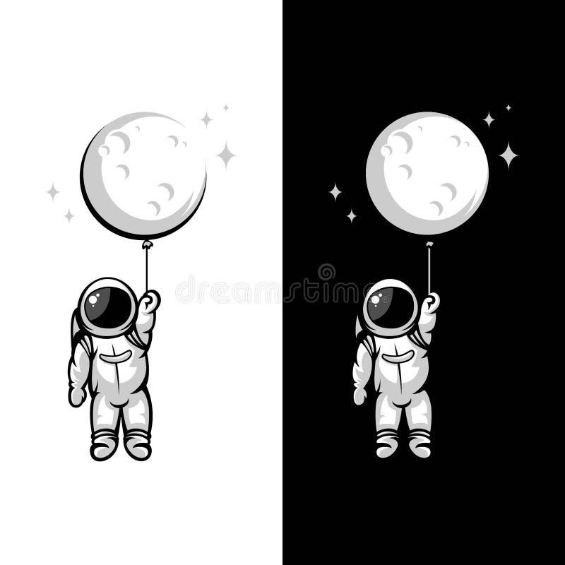 Ilustrações do balão da lua do astronauta ilustração do vetor