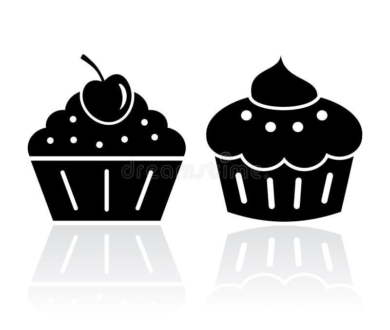 Ilustrações do bolo do queque ilustração stock